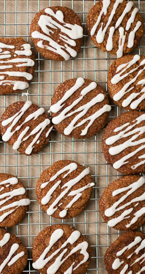 We love these frosted ginger cookies' soft texture and bright spice flavor.  Perfect for gifts and Christmas cookie swaps!