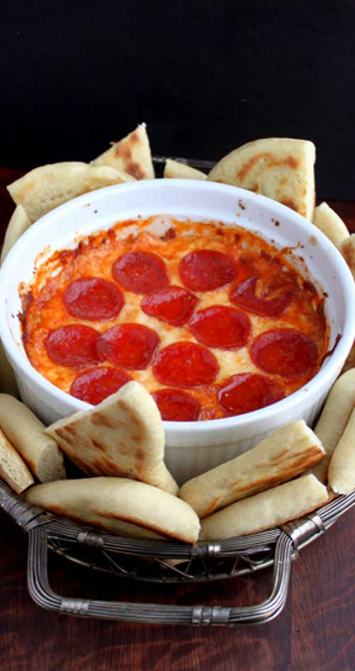 This pizza dip would make a great and easy addition to any party or get together. Or you could even make it as a quick after school snack!
