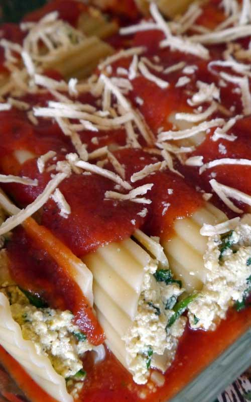 Stuffed Spinach & Mushroom Manicotti