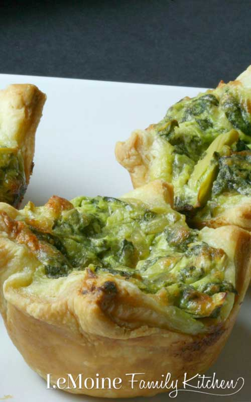 Spinach Artichoke Puff Pastry Cups