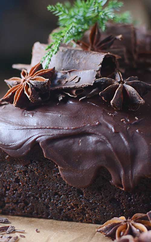 Amazing triple chocolate gingerbread with chocolate chunks and spicy ginger chocolate icing.