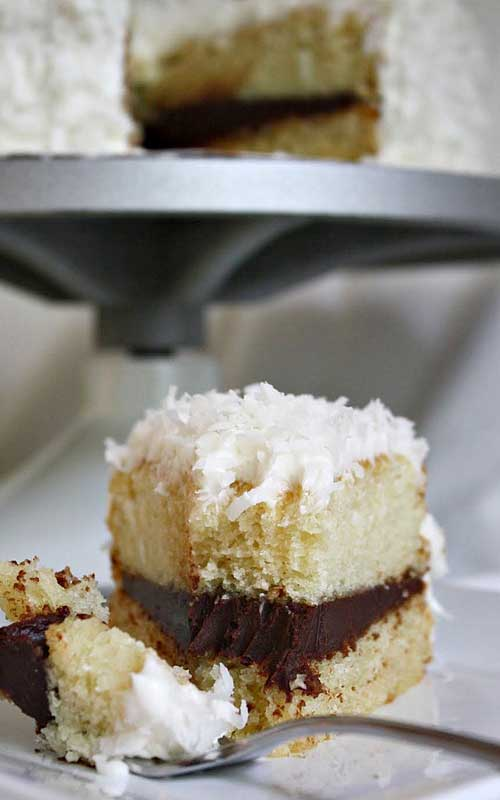 Coconut Layer Cake with Chocolate Ganache Filling