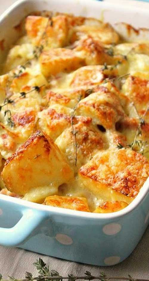 Recipe for Bacon-Studded Potato Gratin - Here's more evidence that you can never have too much cheese, bacon, or starch.