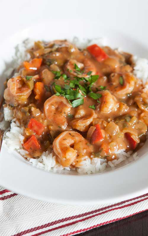 This Shrimp Etouffee is just the kind of warm and comforting dinner that I want when it's below freezing outside but I can also feel good about eating it since the recipe has been lightened.