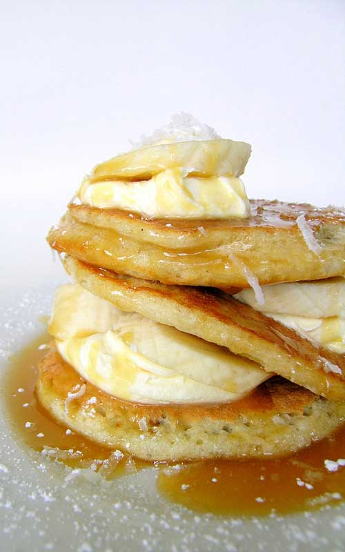 Coconut Pancakes With Caramel Sauce