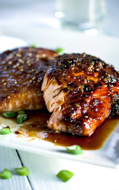 Garlic and Miso Glazed Salmon
