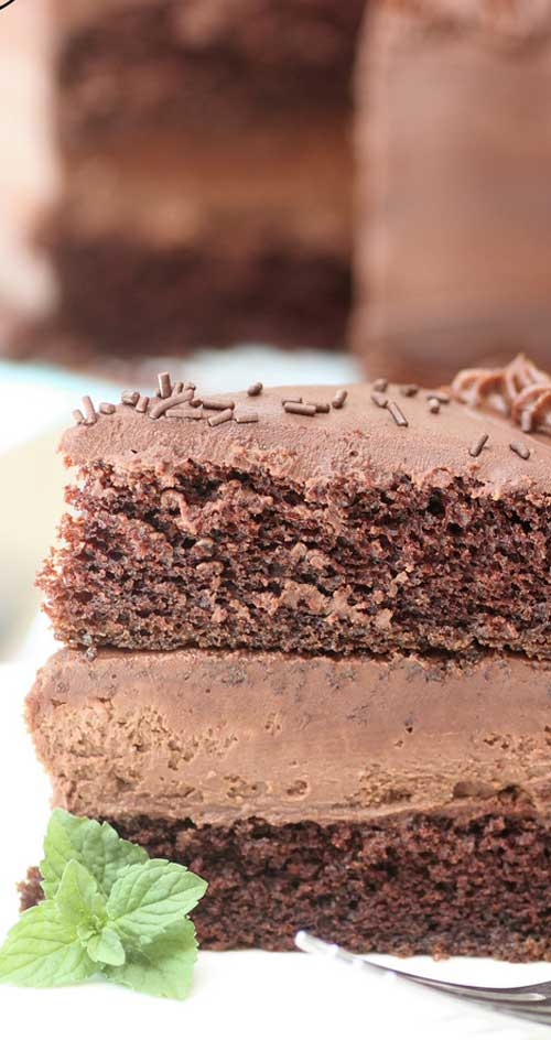 If you are in need of a chocolate fix, this is perfection! It's chocolate, on chocolate, with yet even more chocolate...it's a Chocolate Cheesecake Cake!! #chocolate #cake #cheesecake #dessert