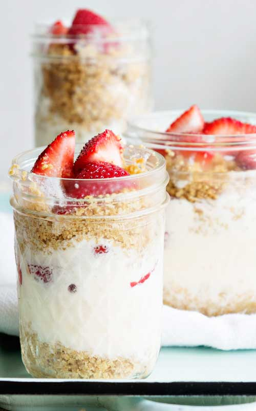 I like to assemble and serve lemonade ice cream in jars, parfait style. Add fresh, juicy strawberries and graham cracker crumble for a fun summer dessert ready for entertaining, or to indulge at home after a day in the sun. Enjoy!