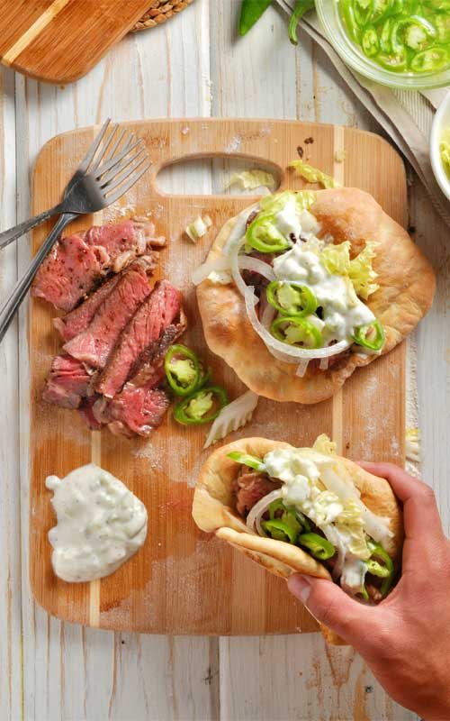 Easy Steak Gyros with Homemade Pitas