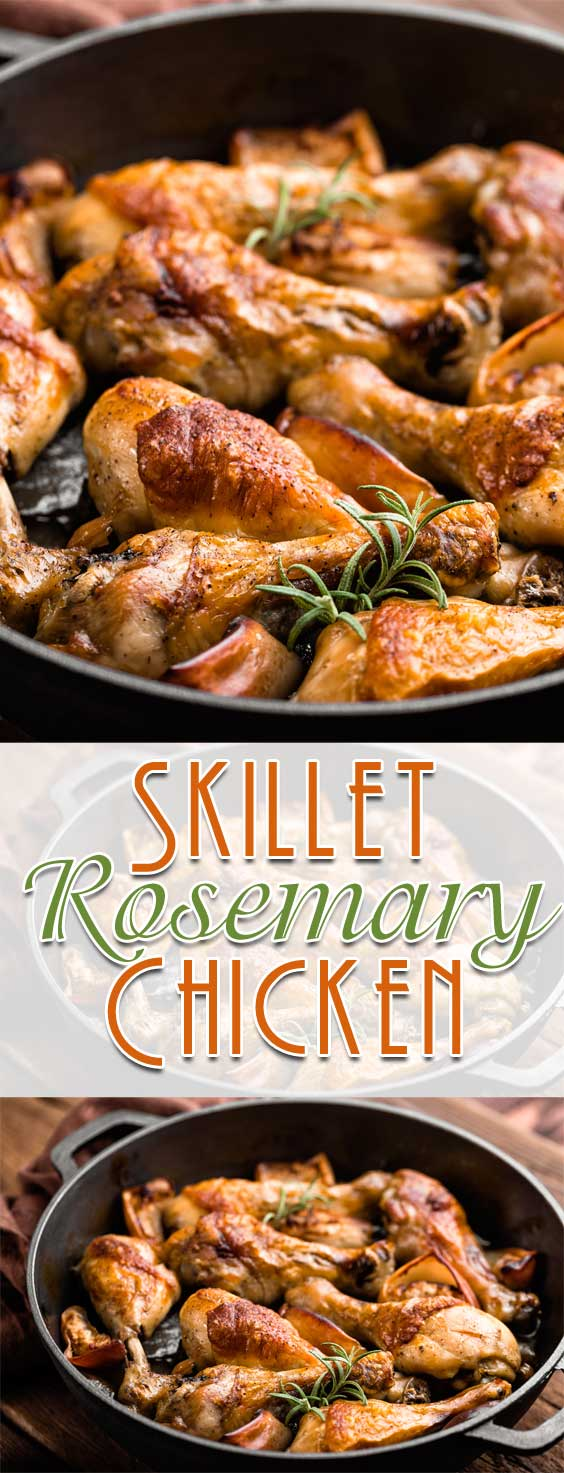 Cooked entirely in one pan making it the perfect quick and easy dinner! Best of all this Skillet Rosemary Chicken cooks up tender with a crispy skin, and the gravy is out of this world good! #chickenrecipe #onepandinner #dinnerideas