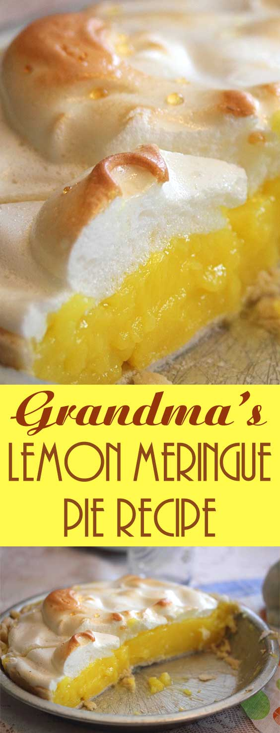 This lemon meringue pie is bursting with fresh lemon taste and a sweet, creamy real meringue topping.This is an old family recipe being passed down from Grandma to a new generation. #springbaking #pierecipe #dessertrecipe