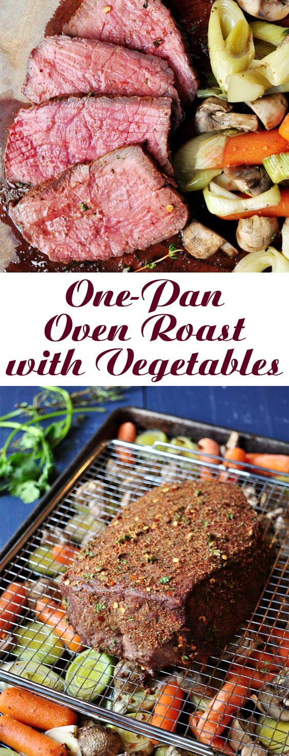 This One-Pan Oven Roast with Vegetables is comfort food at its very best. It takes just a few minutes to pull this meal together, and everything cooks up in one pan! #comfortfood #beefrecipe #onepanrecipe