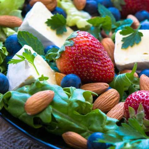 During a hot summer there's nothing better than a salad for a quick and easy meal. This Berry, Brie and Almond Salad is perfect for warmer weather and is on the table in 5 minutes.