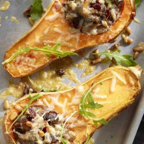 This Roasted Butternut Squash With Sausage Stuffing recipe is pure comfort food! It is also a complete low-carb, gluten-free and paleo-friendly meal with lots of veggies and protein.