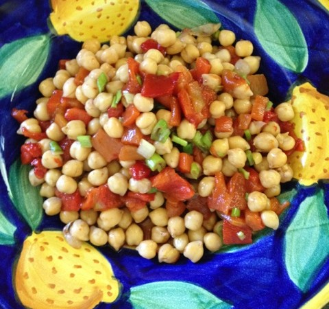 Chick peas with roasted red pepper, green onion and a hint of balsamic