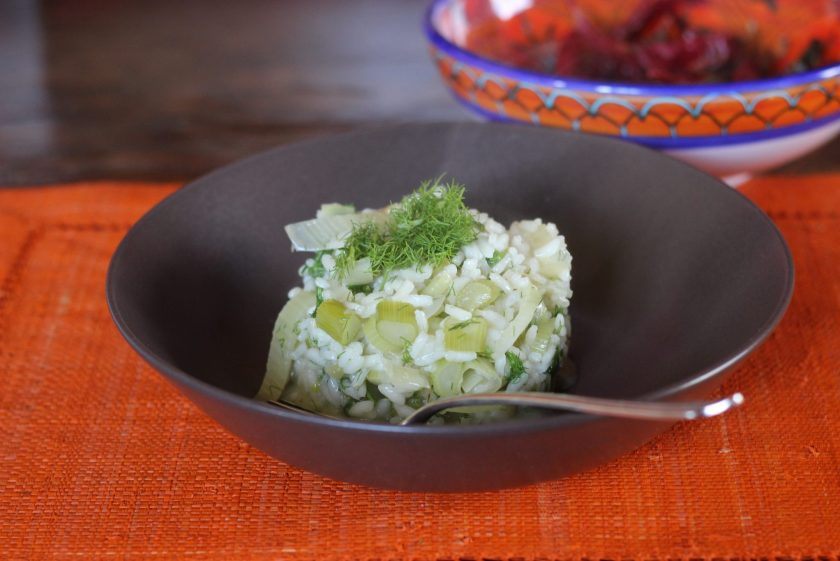 Fennel Risotto, Topped with Fronds