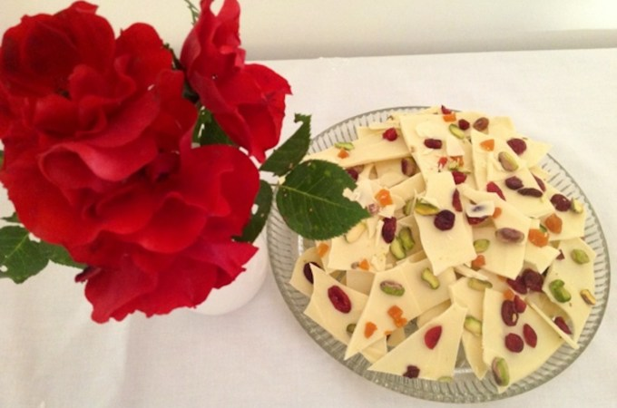white chocolate with dried fruits