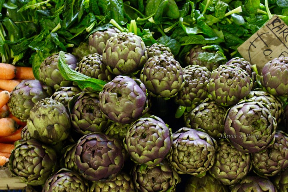 Globe artichokes at the market