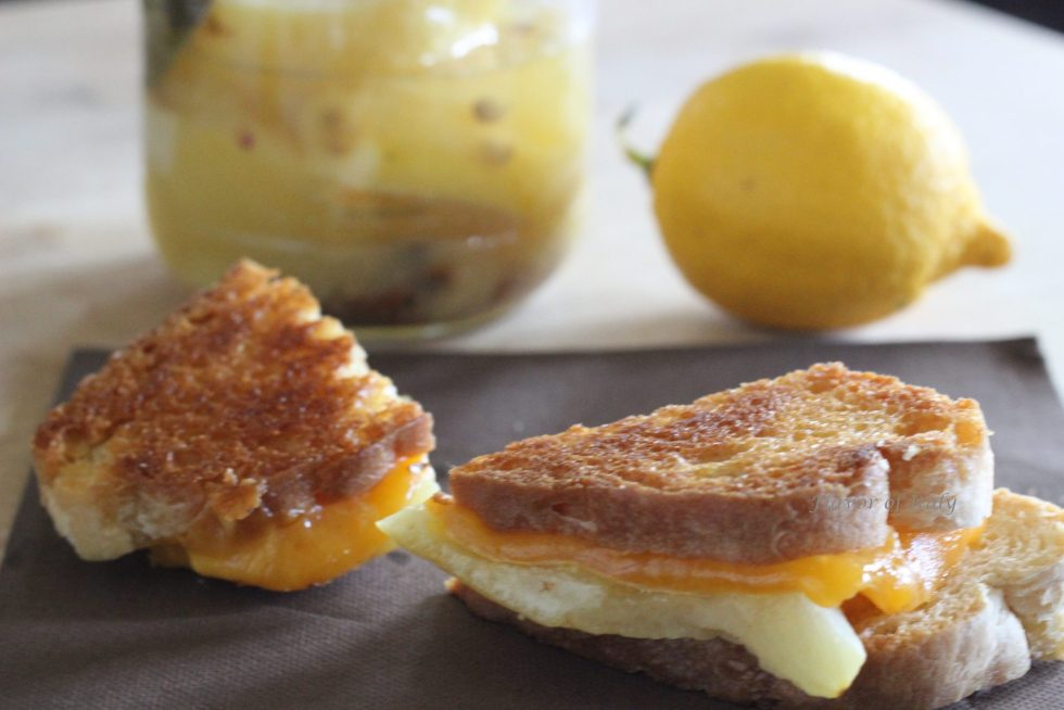 Grilled Cheddar Cheese And Preserved Lemon Sandwich