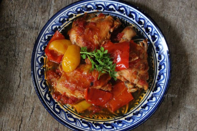 Chicken with red peppers and tomatoes