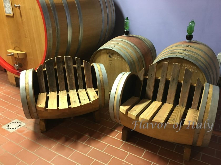 Chairs made from old wine barrels t the Tornesi winery, Montalcino