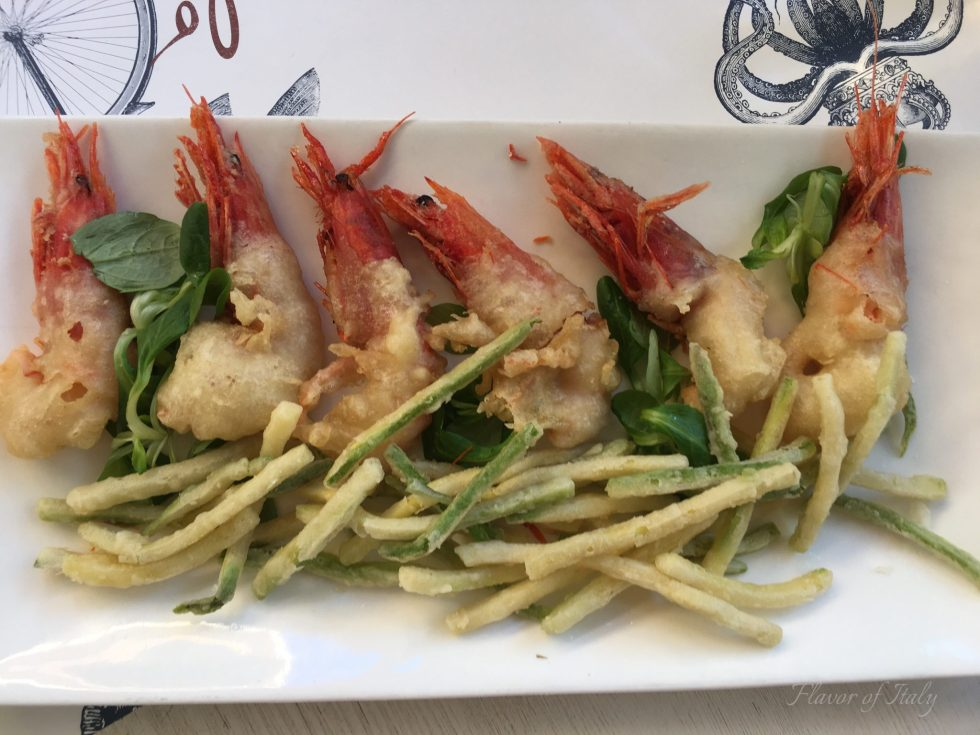 Deep fried shrimp and julienne zucchini