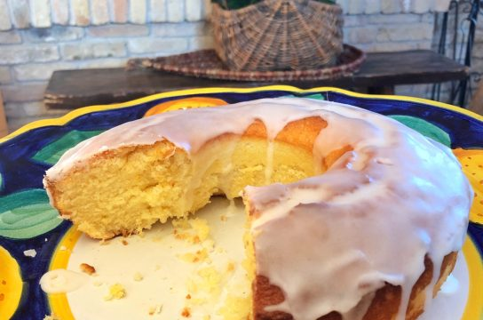 Glazed Lemon Poundcake drizzled with a luscious lemon glaze