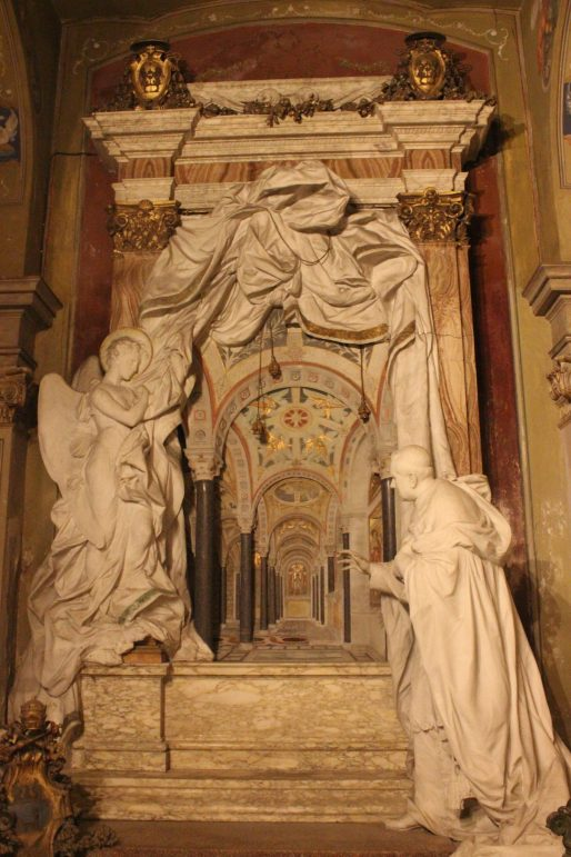 Sculpture panel from a lateral chapel of the Basilica Santa Cecilia