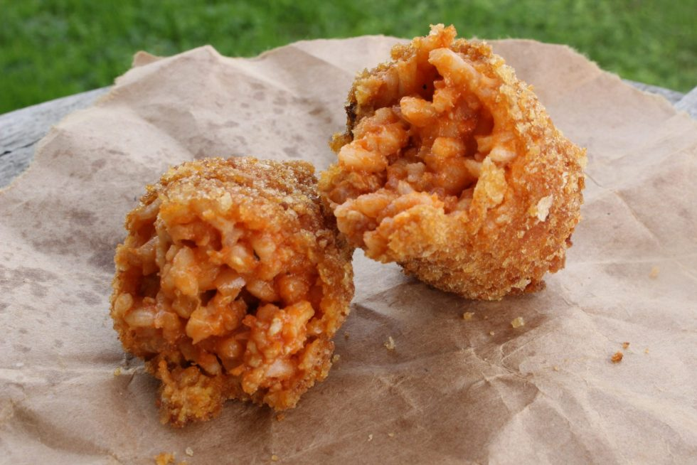 Luscious supplì al telefono: deep fried stuffed rice balls