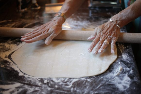 Rolling out the Ravioli Caprese dough