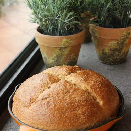 Fresh baked bread in my Le Creuset frying pan