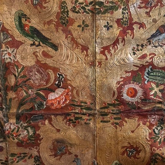 Hand-painted leather wall coverings in the Palazzo Chigi, Ariccia