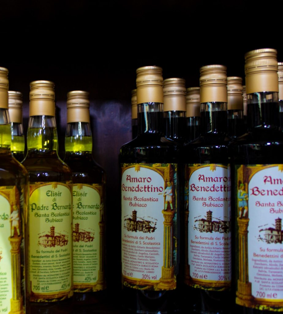 Homemade liqueurs from the Saint Benedict monastery in Subiaco