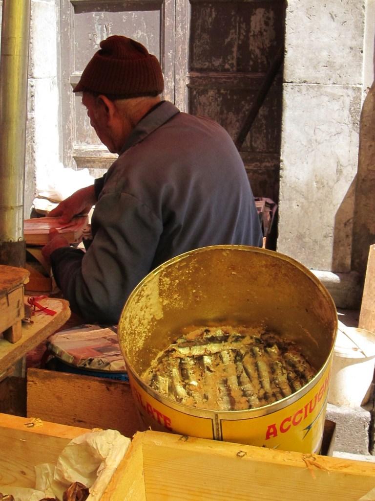 Sicily market with sardines