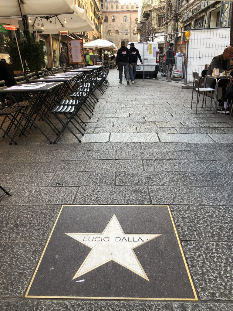 Via degli Orefici, the Jazz Street in Bologna, with a Lucio Dalla star