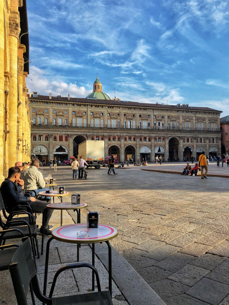Piazza Maggiore in Bologna is a great place for a coffee or aperitivo