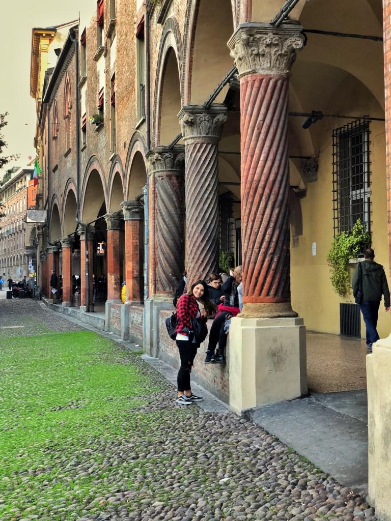 Portico of the 16th century Palazzo Bolognini Amorini Salina, Piazza Santo Stefano portico, Bologna