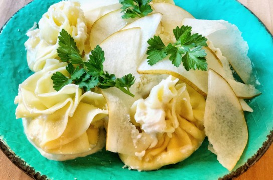 Ricotta and pear filled pasta sacks are delicious and make for a great presentation! You can also make ahead and freeze!