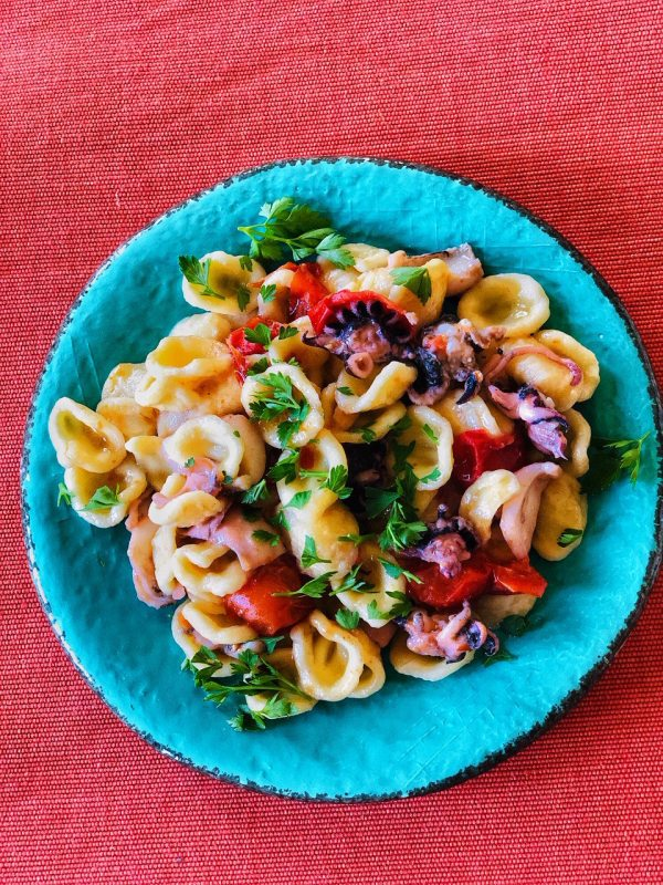 Spicy baby calamari with orecchiette is one of the tastiest pasta dishes, and start to finish it takes twenty minutes to make!