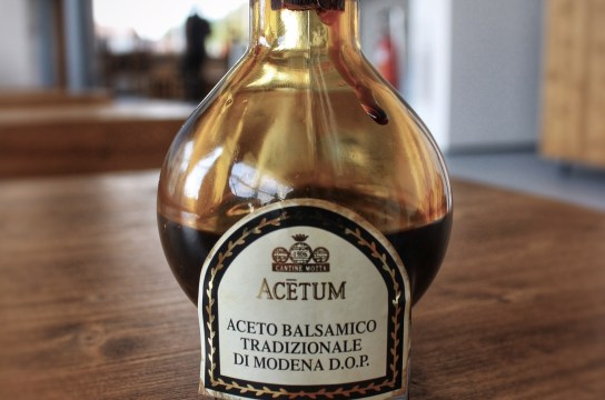 A bottle of DOP balsamic vinegar