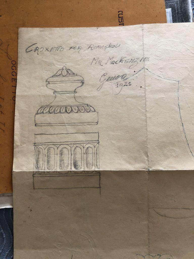 An original pencil and paper design for corzetti from 1921, almost a century ago