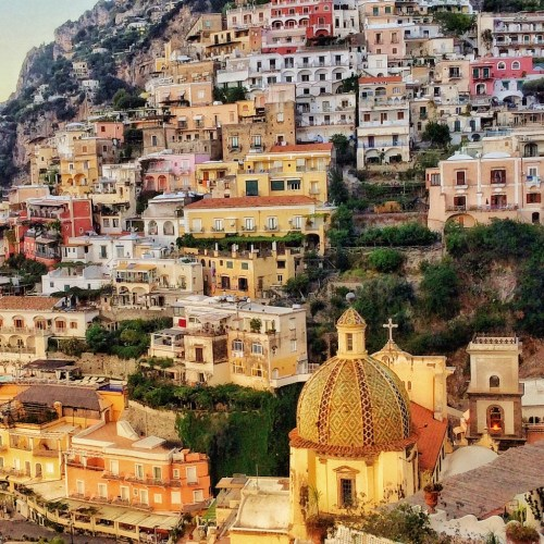 Hillside view of Positano on the Amalfi coast