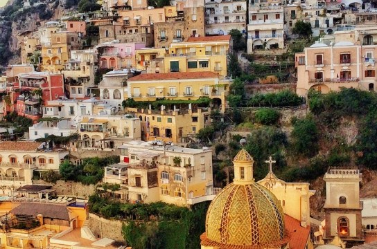 Hillside view of Positano on the Amalfi coast