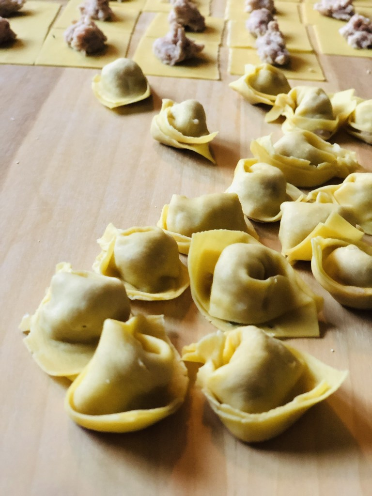 Homemade tortellini for traditional Christmas lunch