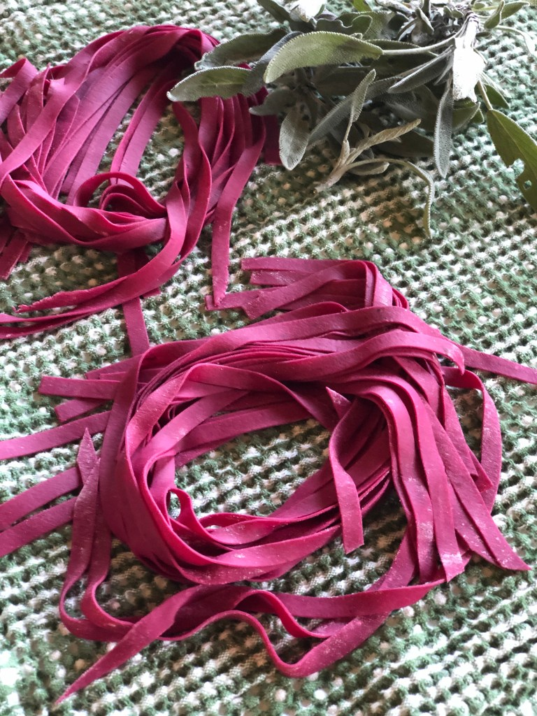 Bright fuchsia beetroot pasta