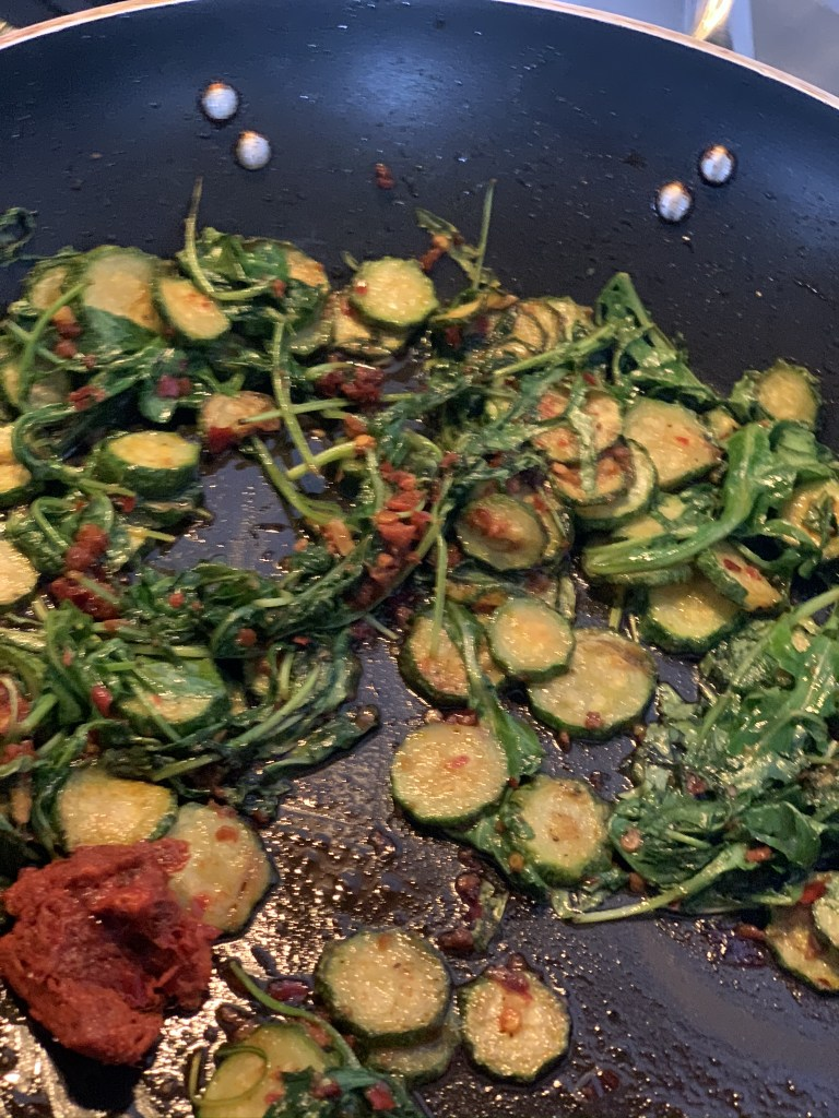 'Nduja Spaghetti with Slivered Zucchini and Arugula