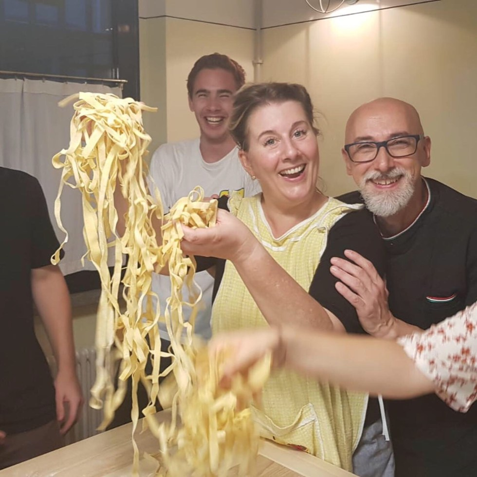 At the Grano & Farina Cooking School pasta making is fun!