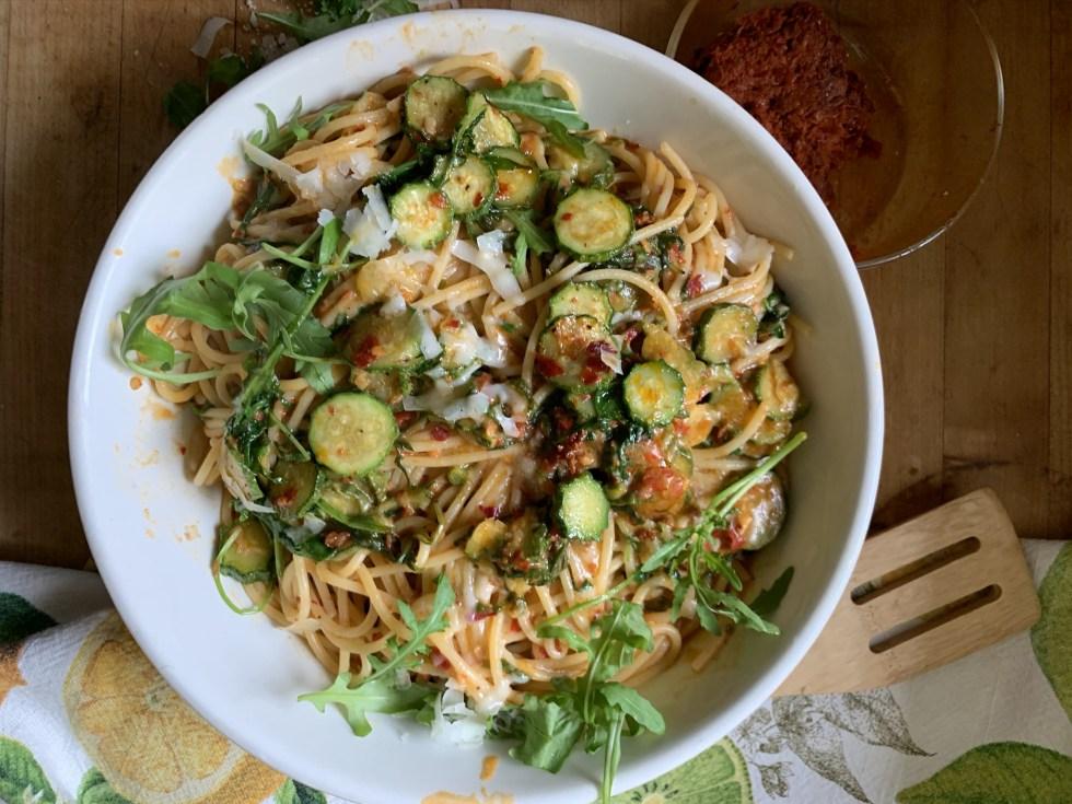 'Nduja Spaghetti with Slivered Zucchini and Arugula