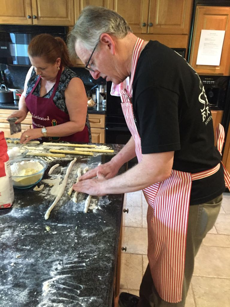 Rolling and cutting gnocchi in a Flavor of Italy Cooking Class