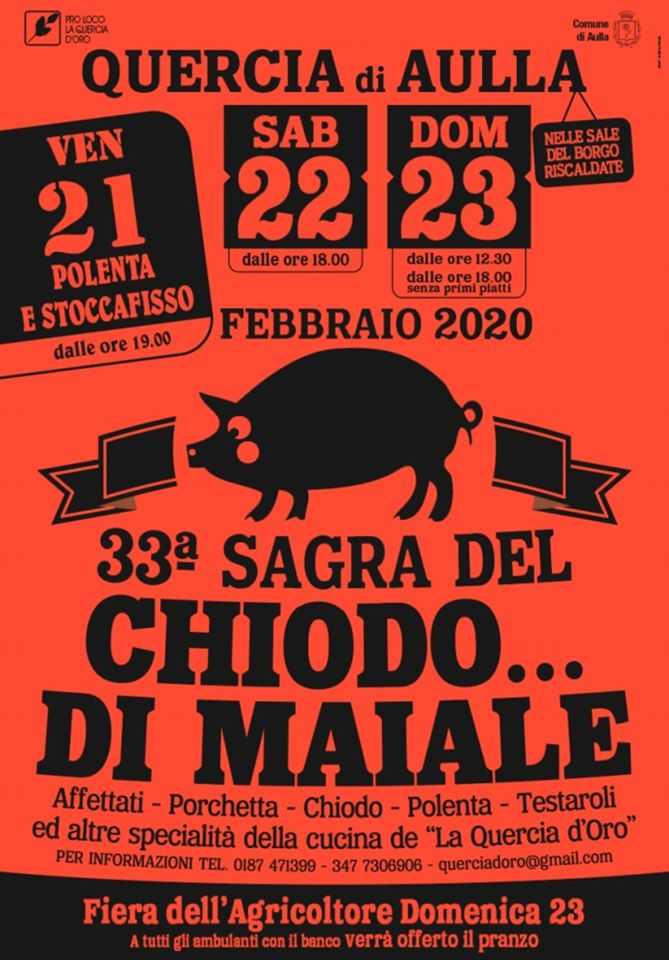 Chiodo di Maiale Sagra flyer from Aulla in the Lunigiana